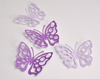 16 Purple and Lilac Butterfly Party Decoration, Butterfly Wall Decals, Butterfly Wall Stickers for Girls Bedroom, Butterfly Wall Art Nursery
