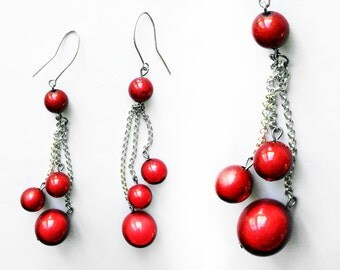 Red vintage dangle earrings with four red beads on each