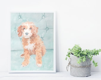 Custom dog and pet portraits- watercolor painting