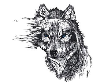 Ink Art Wolf Print, Various Sizes