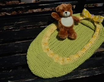 Green and Yellow Crochet Baby Nest/Bowl with a ribbon