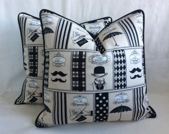 Gentlemen Pillow Cover Set - Black/Beige