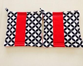 Potholders-Black, White and Red potholders-Christmas gift-holiday gift