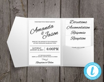 Pocket Wedding Invitation Suite, Printable Wedding Invitation Template, Clean & Cursive, Edit Right in Your Browser, Pocketfold Style
