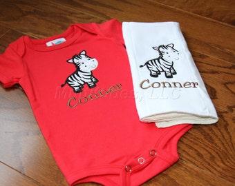 Zebra Applique Onesie/Burp Cloth Set