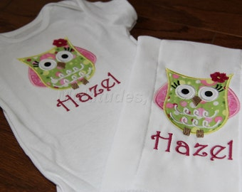Owl Applique Onesie/Burp Cloth Set