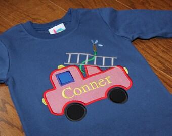 Boys Firetruck Applique Shirt