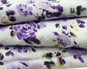 Indian Pure Cotton Fabric For Sewing Craft Dress Making Purple Floral Print Fabric Cotton Sewing Apparel  Material Fabric By 1 Yard ZBC5328