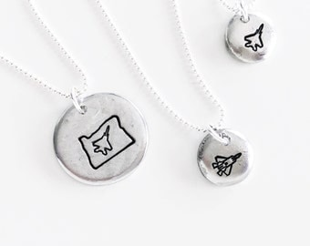 Mini F-15 or F-22 Stamped Necklace // Fighter Jet Jewelry // Hand Stamped by Shyla Moon