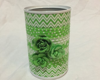 Lime Green Upcycled Tin Can Pencil Cup/Vase