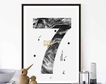 NUMBER 7 Print, Printable Art,  Printable Minimalist Scandinavian Number 7 Poster, 50x70cm/18x24in, Scandinavian Poster, Home Decor Gift