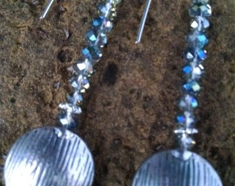 Blue green crystals,sterling silver wire,sterling silver large accent,long dangle,contemporary,one of a kind, dressy or casual