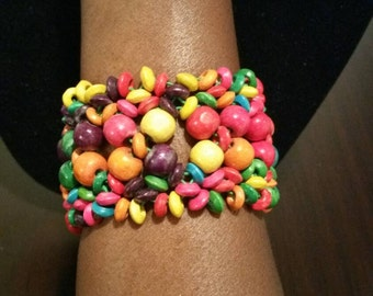 Handmade beaded wooden bracelet