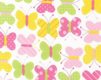 Butterfly Fabric, Robert Kaufman, Urban Zoology Spring, Green, Yellow, Pink, 100% Cotton, UK sales only