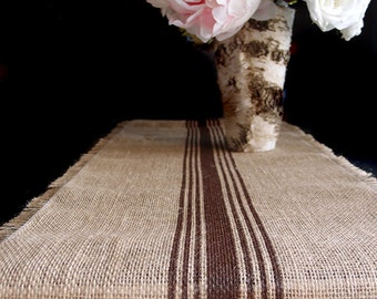 Burlap Table Runner Brown Stripes