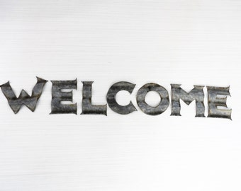 "Metal Welcome sign letters DIY metal letter sign decor! 4"" Corrugated Metal WELCOME"
