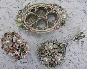 Vintage Florenza 3 piece whitewash Vanity Set mirror, trinket box and lipstick caddy