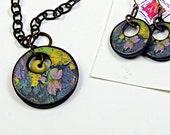 Fall Floral/ Destash/ Art Wood Tile/ Floral/ Handcrafted Necklace Earrings Set/ Destash/ Gifts for Her
