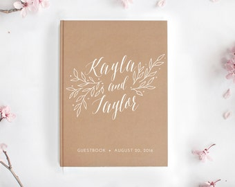 Kraft Paper Guestbook / Wedding Journal / Custom Hardcover Guest Book / Rustic Wedding Gift / Rustic Personalized Journal Rustic Guestbook