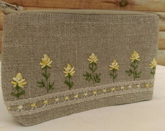 Rococo Rose hand made embroidered natural linen cosmetics bag