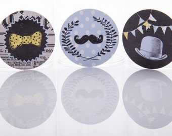 50% OFF SALE Boys Gentleman Party Circles birthday party decor, ready to use Party Circles  - set of 18