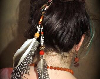 Beaded Feather Hair Clip