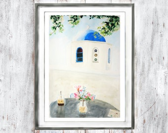 watercolor print Customize instant digital download  watercolor art  home decor wall art Greece Santorini painting street art art landscape