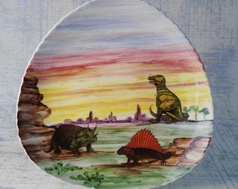 Dinosaurs Wall Plate, Kelsboro Wall Plate, Triceratops, Tyrannosaurs, Dimetrodont, Geology Gift