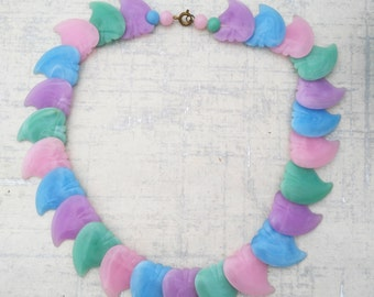 Plastic Shark Tooth Necklace - Pink Green Blue Plastic Necklace - Festival Necklace -  Gift Lady Her