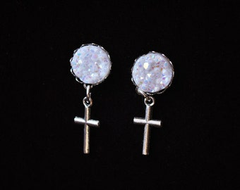 Silver Cross earrings with iridescent stone/Crystal