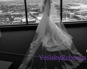 1 tier cathedral lace veil, ivory lace cathedral drop veil, white lace cathedral wedding veil,lace drop cathedral wedding veil V611D