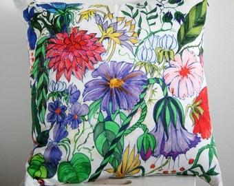 Floral drawing pillow, fantasy dahlias, original artwork print cushion, 45 x 45 cm