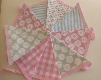 Bunting in soft pinks and greens 9 flags 2.8m