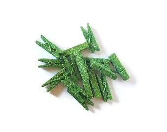Green Glitter Mini Clothespins