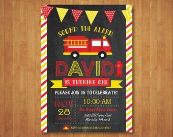 Fire Truck Birthday Invitation. Chalkboard Firefighter Fireman Invitation. Boy Fire Truck Theme Party Invite. Printable Digital.