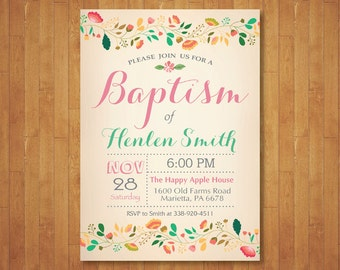 Baptism Invitation. Girl Baptism Invitation. Floral Baptism. Christening. Spring Summer Flower. Vintage. Printable Digital.
