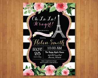 Paris Baby Shower Invitation. Eiffel Tower Invitation. Girl Baby Shower. Paris Invitation. Oh la la French. Chalkboard. Printable Digital.