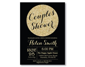 Couples Shower Invitation. Black and Gold Couples Shower Invite. Baby Shower. Bridal Shower. Gold Glitter. Glam. Printable Digital.