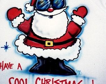 Santa shirt, Christmas t shirt, Santa Claus shirt, Christmas gift, airbrush t shirt, personalized Christmas gift,