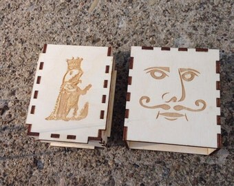 Wooden Laser Cut Knight and Fish King Playing Card Case