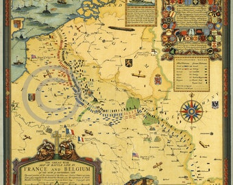 Old Historical Vintage Print of Map of War between France and Belgium 1918
