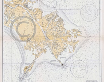 1934 Old Historical Nautical Chart of Mississippi Delta Art Map - Reprint