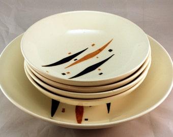 Vintage Bowl Set, Retro Diamond Pattern