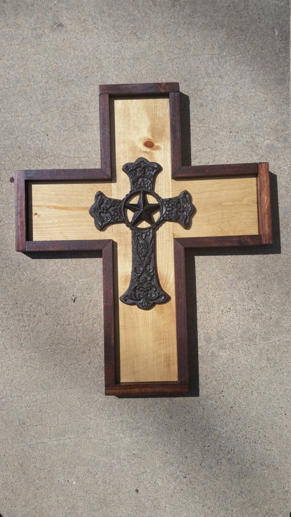 Wood cross western home decor wood wall by wattsuniquetreasures Home decor wall crosses