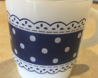 Vintage Anchor Hocking Fire King Polka Dots and Lace Coffee Cup in Blue