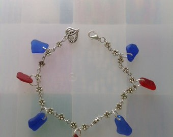 Red and Blue Seaglass Ankle Bracelet