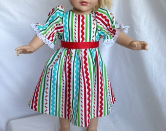 """Striped Christmas dress for 18"""" doll"""