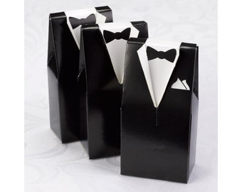 Black And White Tuxedo Favor Boxes For Wedding Receptions, Formal Parties. 1 Set Includes 25 Favor Boxes