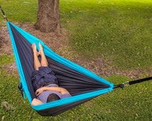 Lightweight Nylon Double Camping Hammock & Tree Straps- Great For Travel, Hiking, Backpacking and Gift Idea