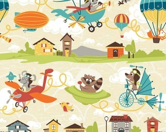 Little Flyers Main Cream by Riley Blake Designs C4570 - Airplane Dog Racoon - 100% Cotton Woven Quilt Fabric - by the yard fat quarter half